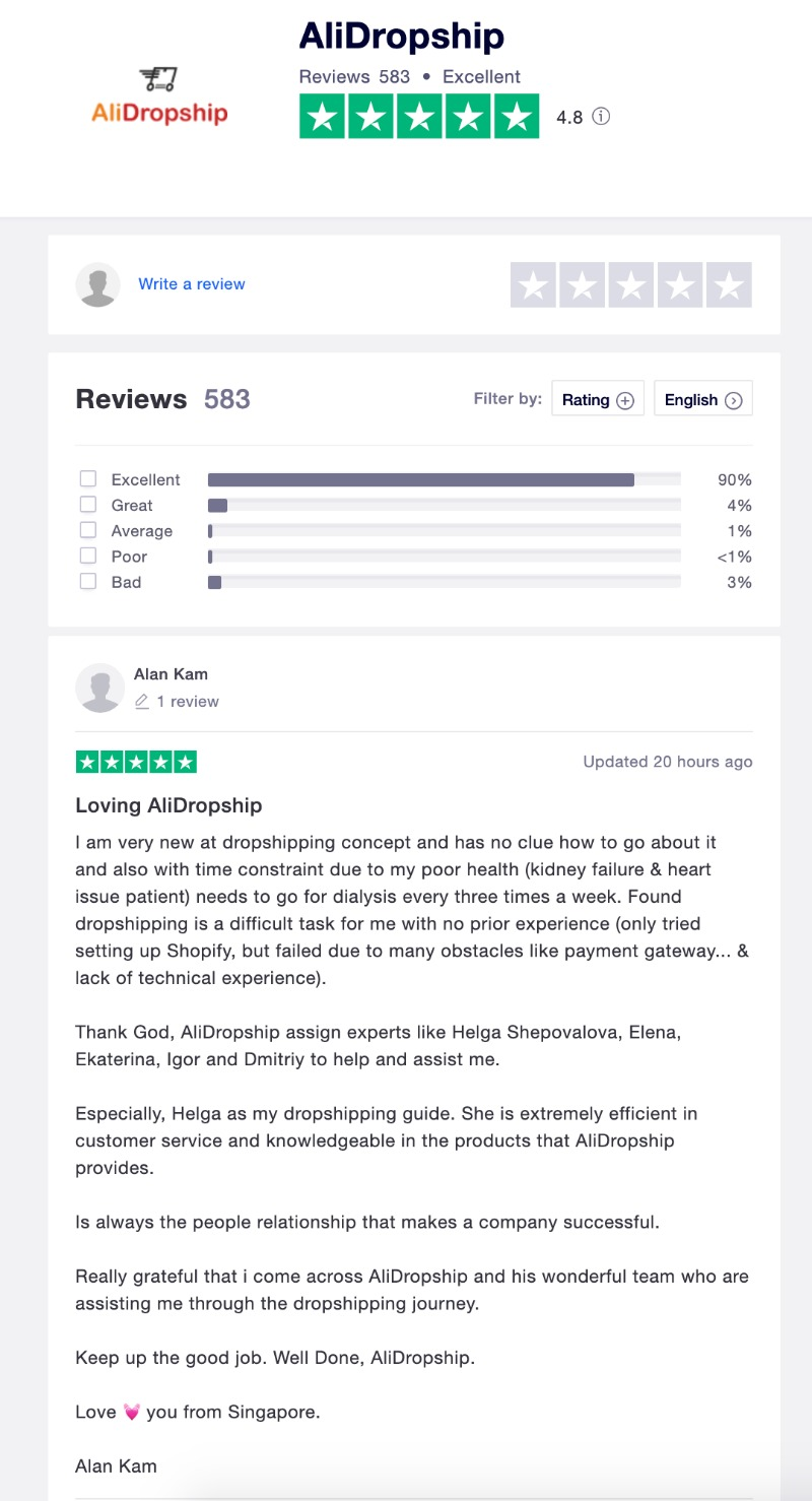 TrustPilot AliDropship Reviews