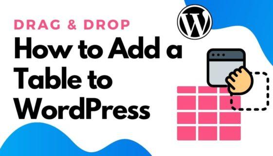drag & drop table builder wordpress